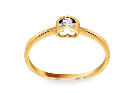Engagement Ring with Diamond Romantic Clover