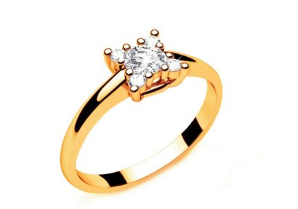 Engagement Ring with Diamonds 0,190 ct Key To Heart 8 Yellow
