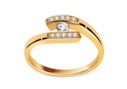 Engagement Ring with Diamonds 0,190 ct Lines Of Love 6 Yellow