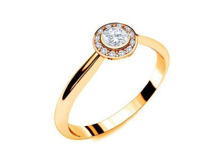 Engagement Ring with Diamonds 0,210 ct Key To Heart 13 Yellow