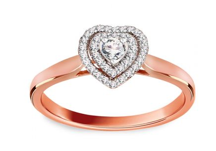 Engagement Ring with Diamonds 0,220 ct Glossy Heart