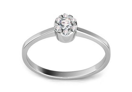 Engagement ring with Kelly white diamonds 0,100 ct