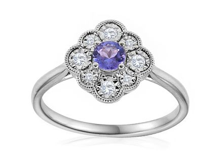 Engagement Ring with Tanzanite and Diamonds Jacqui