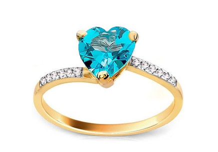 Engagement Ring with Topaz Heart and Diamonds Levana