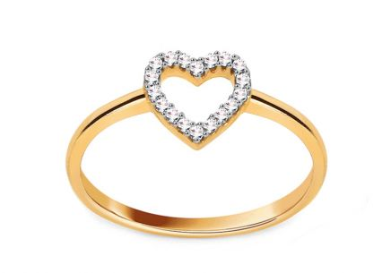 Gold and Diamond Engagement Ring with Heart Aliza