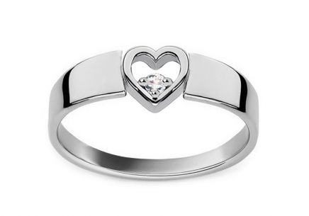 Gold and Diamond Engagement Ring with Heart Roxane white 0.040 ct