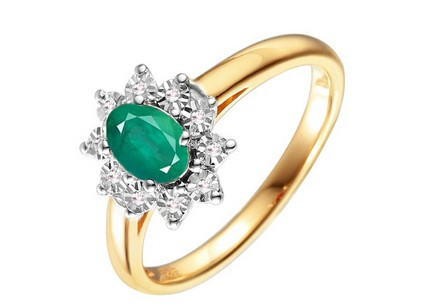 Gold and Diamond Ring with Emerald Clarisse