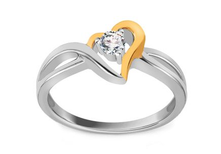 Gold Diamond Engagement Ring with Heart Jaclyn 0.120 ct
