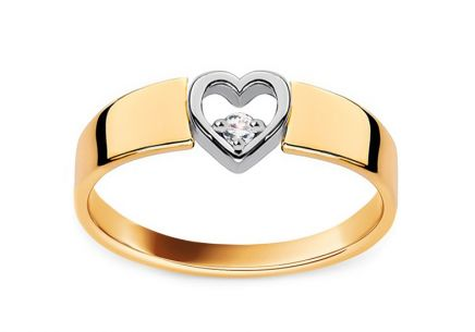 Gold diamond engagement ring with heart Roxane 0.040 ct