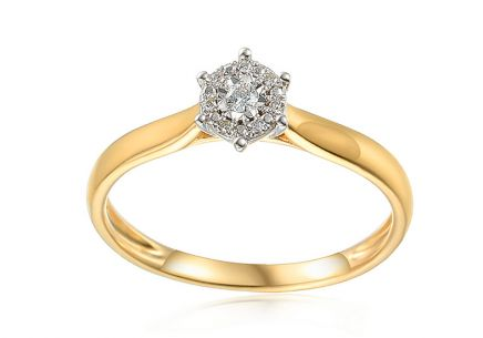 Gold engagement ring with 0.030 ct Lonna diamonds