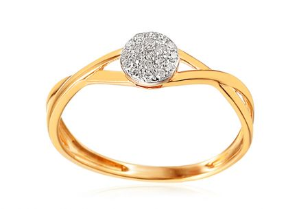 Gold engagement ring with 0.040 ct Amora diamonds