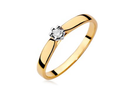 Gold engagement ring with 0.040 ct Reanna diamond