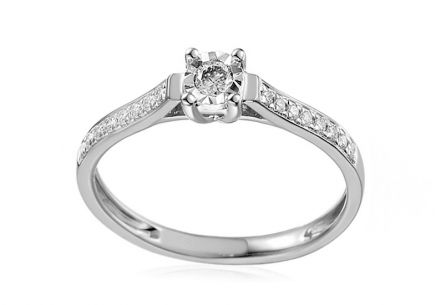 Gold Engagement Ring with Brilliants Fannie 1