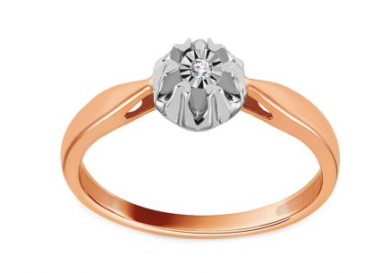 Gold Engagement Ring with Diamond 0.010 ct Caresse