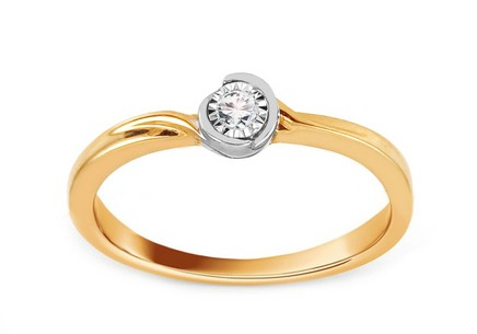 Gold Engagement Ring with Diamond 0.030 ct Alameda