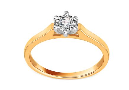 Gold Engagement Ring with Diamond 0.030 ct Milia