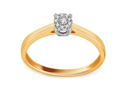 Gold Engagement Ring with Diamond 0.040 ct Levron