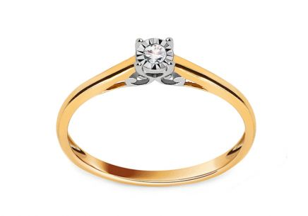 Gold Engagement Ring with Diamond 0.040 ct Lourie