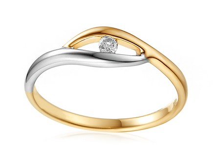 Gold Engagement Ring with Diamond 0.040 ct Sidney 1
