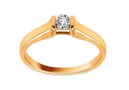 Gold Engagement Ring with Diamond 0.050 ct