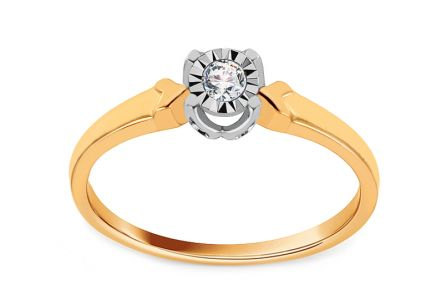 Gold Engagement Ring with Diamond 0.050 ct Marlena