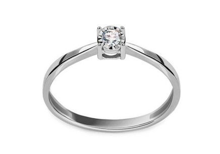 Gold Engagement Ring with Diamond 0.050 ct Ophelia white