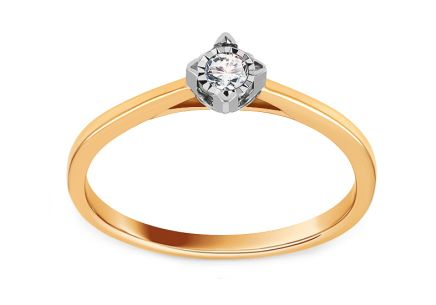 Gold Engagement Ring with Diamond 0.070 ct Jumelle