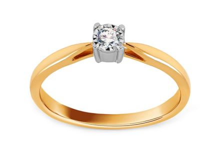 Gold Engagement Ring with Diamond 0.080 ct Alizza