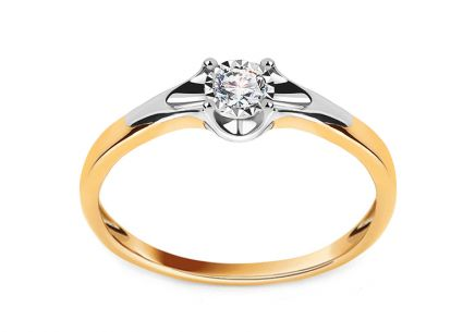 Gold Engagement Ring with Diamond 0.080 ct Andria
