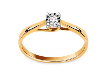 Gold Engagement Ring with Diamond 0.080 ct Aubrey
