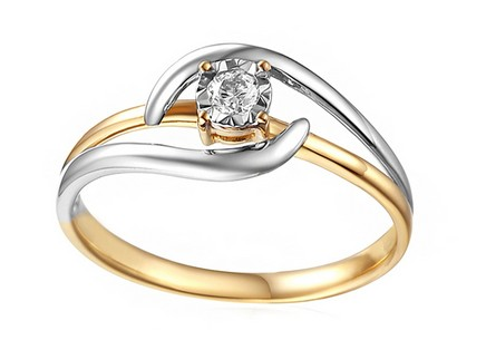 Gold Engagement Ring with Diamond 0.080 ct Silva