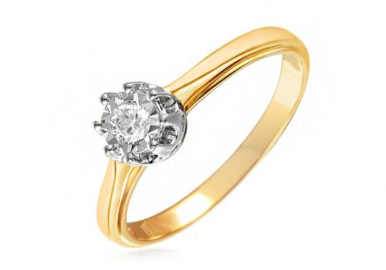 Gold Engagement Ring with Diamond 0.090 ct Caelyn 2