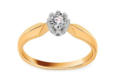 Gold Engagement Ring with Diamond 0.100 ct Alondra