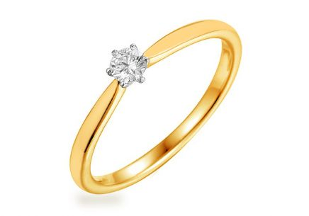 Gold Engagement Ring with Diamond 0.100 ct Aurin