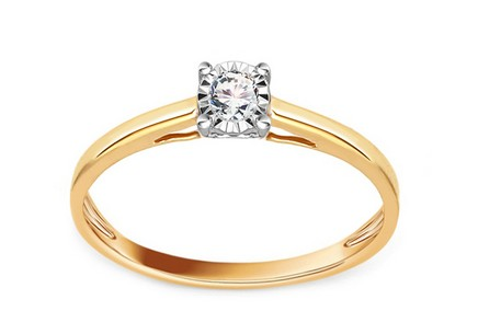 Gold Engagement Ring with Diamond 0.100 ct Breann