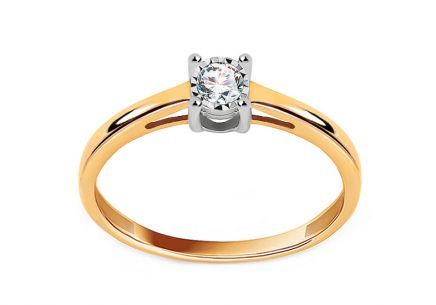 Gold Engagement Ring with Diamond 0.100 ct Clara 2