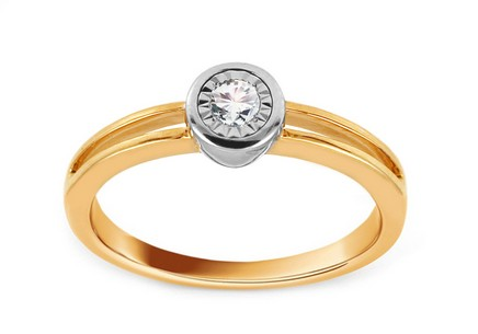 Gold Engagement Ring with Diamond 0.100 ct Djanira
