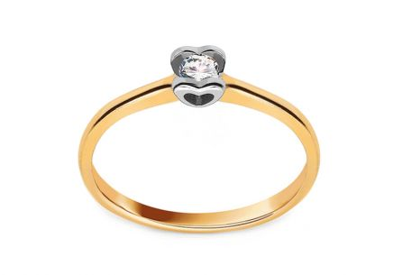 Gold Engagement Ring with Diamond 0.100 ct Glamorous Heart