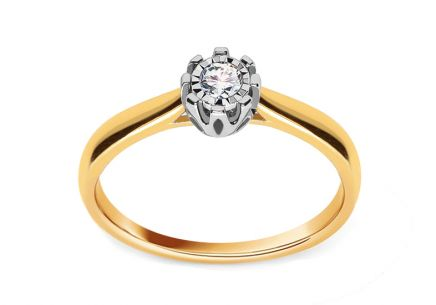 Gold Engagement Ring with Diamond 0.100 ct Leal