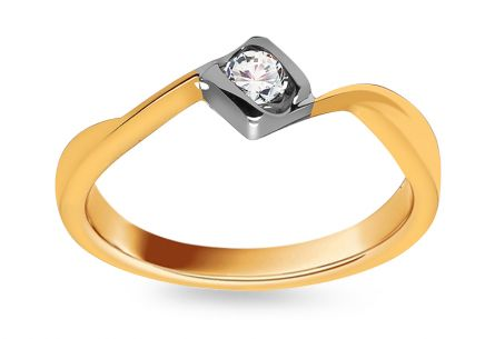 Gold Engagement Ring with Diamond 0.100 ct Livia