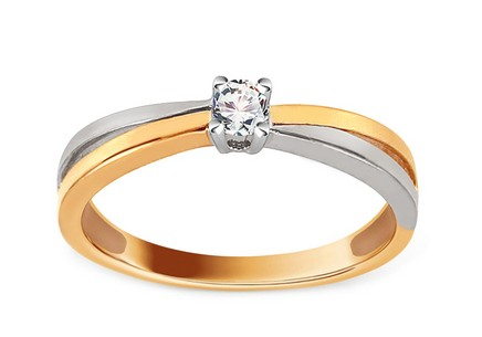 Gold Engagement Ring with Diamond 0.100 ct Melora