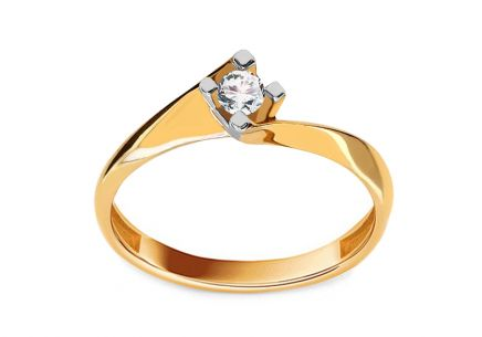 Gold Engagement Ring with Diamond 0.100 ct Vafara