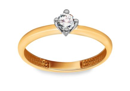 Gold Engagement Ring with Diamond 0.100 ct Valeraine