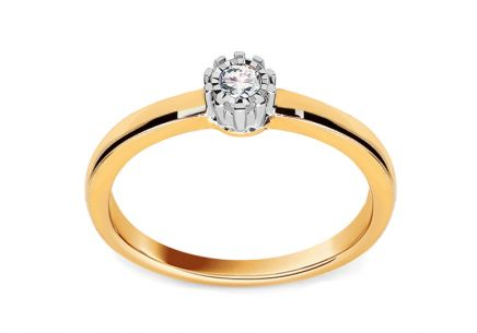 Gold Engagement Ring with Diamond 0.110 ct Maelie