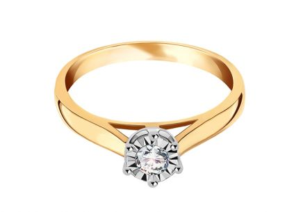 Gold Engagement Ring with Diamond 0.150 ct