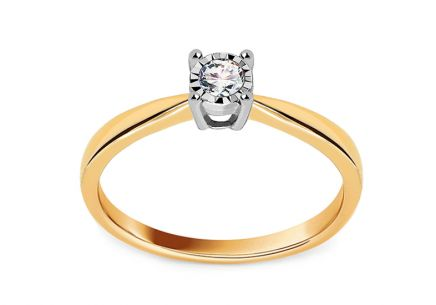 Gold Engagement Ring with Diamond 0.150 ct Chalina