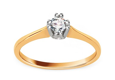 Gold Engagement Ring with Diamond 0.150 ct Paulie
