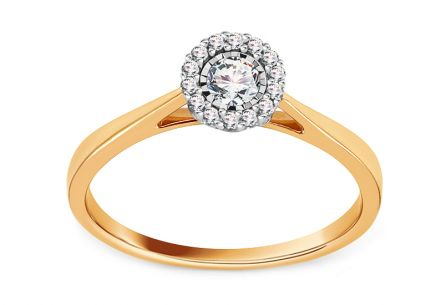 Gold Engagement Ring with Diamond 0.170 ct Maika