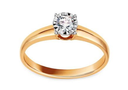 Gold Engagement Ring with Diamond 0.170 ct Martine 2