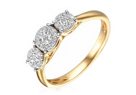 Gold Engagement Ring with Diamond 0.170 ct Roberta